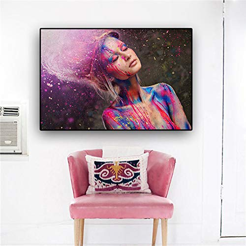 QWESFX Mode Farbe könnte Make-up Frau Leinwand Malerei Tier Leinwand Drucke Ölgemälde Leinwand Kunst Wandmalereien für Wohnzimmer Modern A5 60x120CM