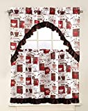 Sapphire Home 3 Piece Kitchen Curtain Linen Set with 2 Tiers 28' W (Total Width 56') x 36' L and 1 Swag Valance 56' W x 36' L, Coffee Mocha Expresso Design White Kitchen Curtain Décor Linen