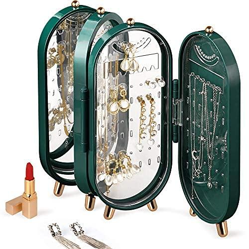 Soporte para pendientes, 4 niveles, caja organizadora de pendientes, plegable, a prueba de polvo, caja de pendientes con espejo