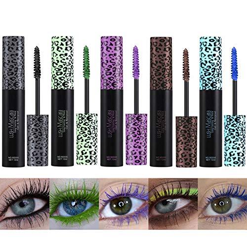 Gireatick Bunte Wimperntusche für lang anhaltendes Augen Make-up, schweißfeste 4D Faser Mascara mit langen Wimpern 5er-Set