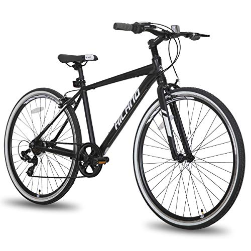 Hiland Hybrid Bike Urban City Commuter Bicycle for Men Comfortable Bicycle 700C Wheels with 7 Speeds Black
