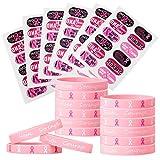Pegatinas de tatuaje de conciencia de cáncer de mama de 72 piezas Pulseras de cinta rosa de 48 piezas Pulsera de silicona