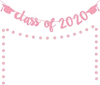 Awyjcas Rose Gold Glittery Class Of 2020 Banner and Rose Gold Glittery Graduation Cap Banner- 2020 Graduation Party Decorations/High School, College Graduation Grad Party Decoration Supplies