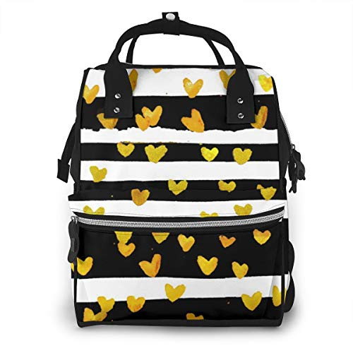 Cestlaviv More Goldhearts Multi-Function Travel Backpack Nappy Bag,Fashion Mummy Bag