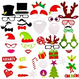 Christmas Photo Booth Props, 50Pcs DIY Xmas Party Selfie Props Photography Dress Up Accessories for Adults Kids Happy New Year Xmas Party Supplies