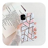 Hully For iPhone 11 Pro XS Max XR 6 6S 7 8PlusリングキックスタンドソフトIMDカバー用エレクトロプレート幾何学的大理石リングホルダーケース-Style 4-For iphone 11