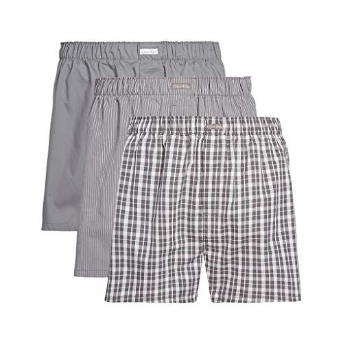 Calvin Klein Herren Boxer WVN 3PK Boxershorts, Grau (Grey Sky/Glen Plaid/Matthew Stripe Ggm), Medium (Herstellergröße: M)