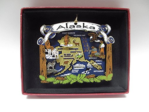 Alaska State Brass Christmas ORNAMENT 2D
