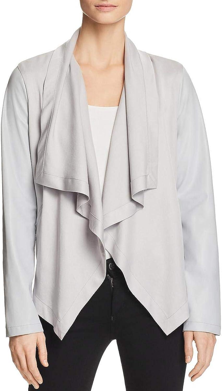 Bagatelle Womens FauxLeather Drape Jacket