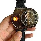 STRIR Mechero Eléctrico en Forma de Reloj de Cuarzo, Encendedor USB Eléctrico con luz LED, Carga Rápida, Resistente al Viento sin Llama,Caja de Regalo Incluidos (Negro)