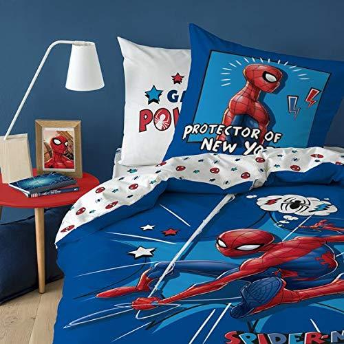 Spiderman Parure de lit Housse de Couette 140X2000 + Taie d'oreiller 63X63 Cm 100% Coton Protector
