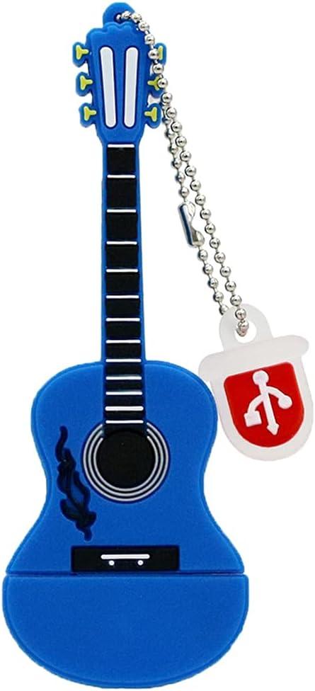 Memorias USB de 32GB, Disco Azul de Pendrive U de la Forma de la Guitarra del Almacenamiento del palillo de la Memoria de la Novedad
