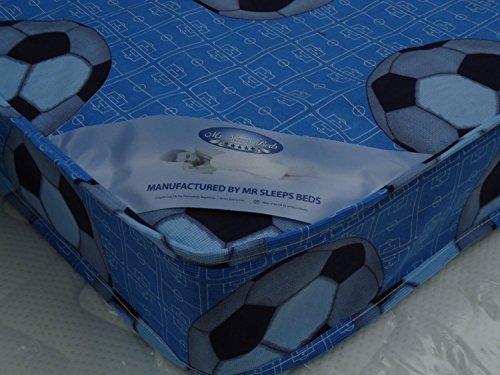MR SLEEPS BEDS BLUE FOOTBALL BUDGET SINGLE MATTRESS 3FT (90cm) width 6FT3 (190CM) LENGTH STANDARD 6.5 inches (16.5cm) Depth MADE TO UK FIRE REGS