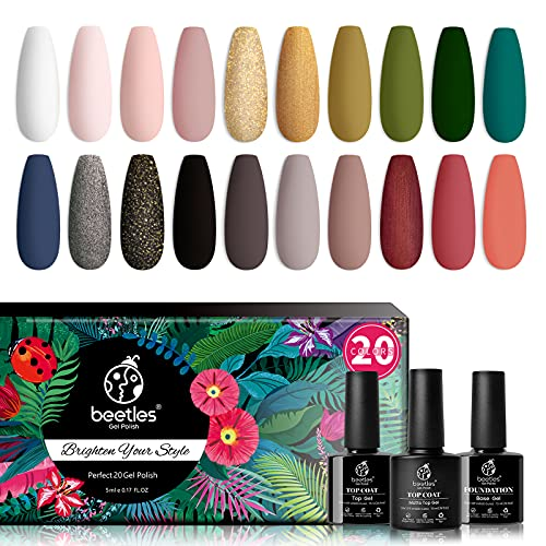 Beetles 20Pcs Gel Nail Polish Kit Fall Colors, with Glossy & Matte Top Coat and Base Gel- Lucky Tarot Collection, Popular White Black Nude Grey Green Nail Art Solid Glitters Colors Soak Off UV Gel Polish Halloween Nails Design