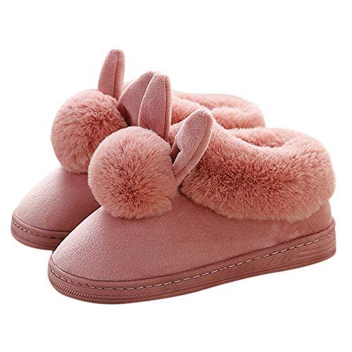 Ymysfit Femme Chaussons Pantoufles en Coton Chaud Couleur Unie Simple Lapin Peluche Mode Hiver