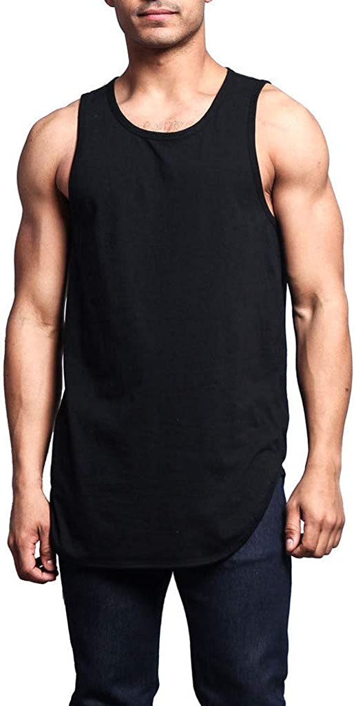 F_Gotal Men's Gym Tank Tops Workout Muscle Tee Solid Color Mesh Breathable Training Bodybuilding Fitness Vest T Shirts
