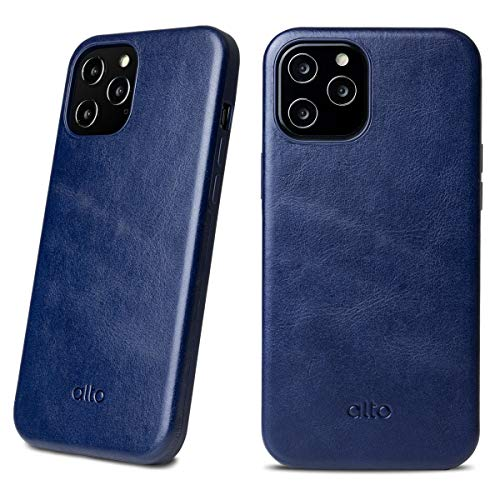 Alto Original 360 Drop Protective Leather Case Compatible with iPhone 12 Mini (5.4 inch), Italian Leather Phone Case (Navy Blue)