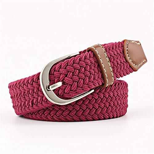 WXG Elástico Elástico Cintura Cinturón Hombres Color Sólido Trenzado Cinturón de Cuero Tejido, rojo vino, 100