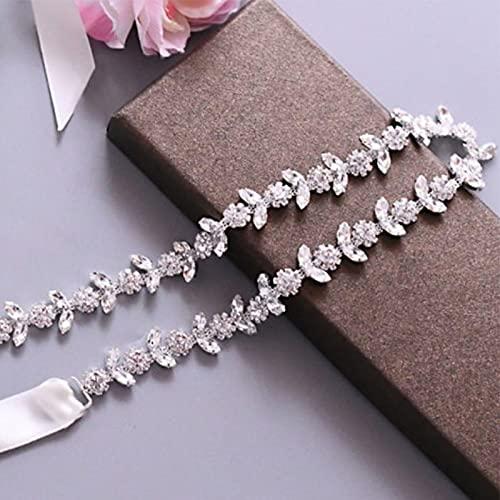 Apliques De Diamante Faja Cinturones Vestido Novia Plateadas Cinturón Vestir Dorado Hecho Mano Vestidos Dama Honor Cinturón Cinturón Nupcial Imitación Boda Accesorios De Cristal Mujer Baile (Plata)