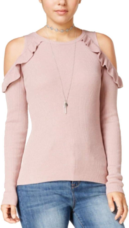 Hippie pink Womens Ruffled Knit Sweater