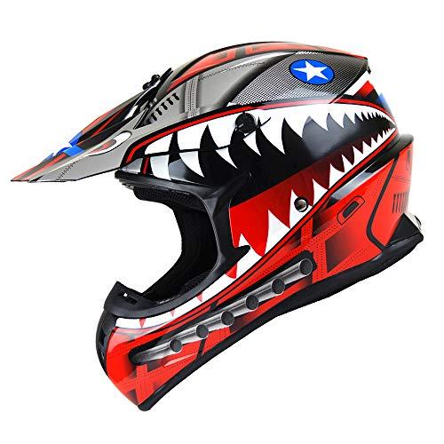 1Storm Adult Motocross Helmet BMX MX ATV Dirt Bike Downhill Mountain Bike Helmet Racing Style HKY_SC09S; Shark Red