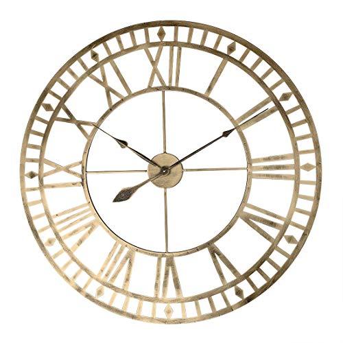 Teakpeak Reloj de Pared XXL Vintage, Reloj de Pared Grande Salon 80cm, Reloj de Pared Metalico con Número Romano