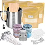 Candle Making Kit Supplies, Soy Wax Making Kit Including Pot, Wicks, Stickers, Tins, Soybean Wax, Spoon & More Full Starter Kit for Creating Soy Candles
