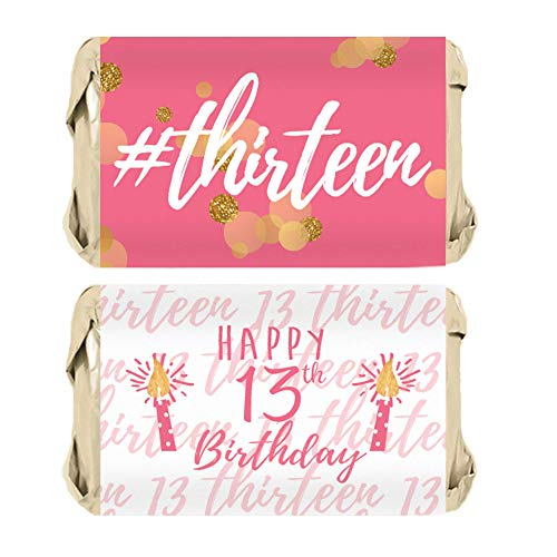 Girls 13th Birthday Party Mini Candy Bar Wrappers, Pink and Gold - 45 Stickers