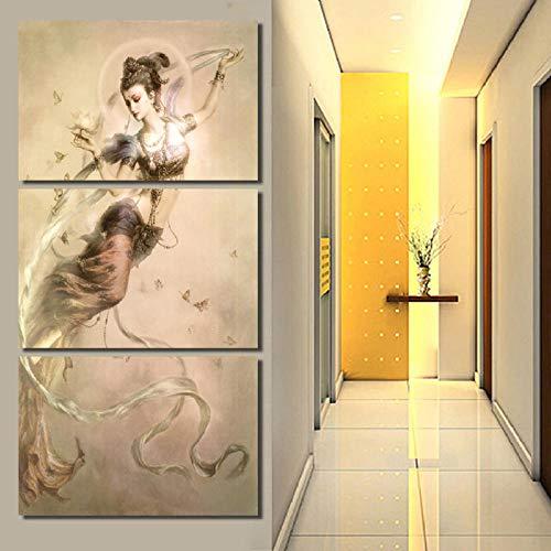 3 Paneles Pintura de pared Obra de arte Lienzo Dunhuang Mogao Grutas Pintura Arte especular Lienzo Pinturas Decoración para el hogar Imagen de pared Sin marco