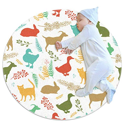 PLOKIJ Country Life Coloré Couverture de Jeu de bébé, bébé Rond Enfants Tapis de Jeu épaissie bébé Ramper Pad 27,6x27,6IN, Multicolore 03, 100x100cm/39.4x39.4IN