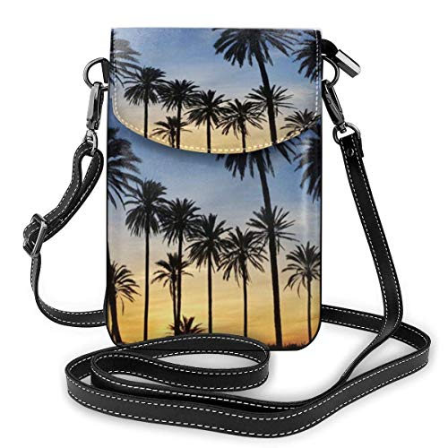 Palm Trees Sunset Small Crossbody Bags Cartera para teléfono celular para mujer