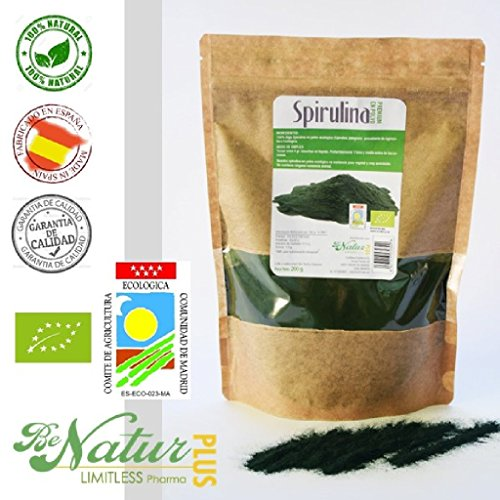 Spiruline en poudre BeNatur Plus - 100% Alga Spirulina Platensis en poudre Pureté Garantie sans Pesticides et tout type de produits Chimiques 200 g