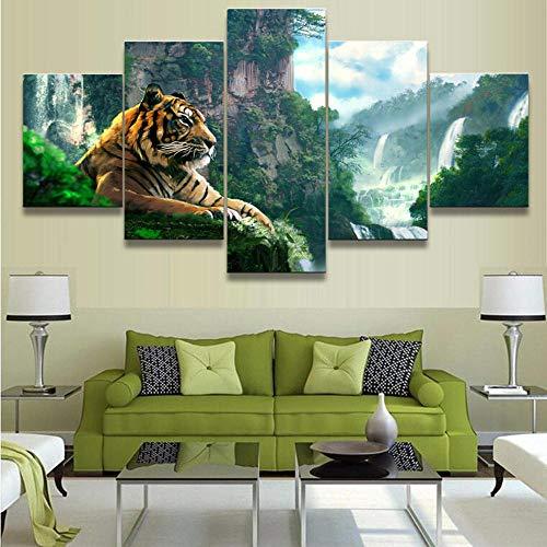 ASSBD Impresiones sobre Lienzo,5 Piezas Cascada del Tigre Y La Montaña Sala De Estar Modular Cuadro Lienzo Arte De La Pared Decoración del Hogar Tamaño A