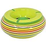 com-four® Posacenere a Vento in Ceramica nei Colori Blu, Verde, Arancione, ciascuno con Strisce Colorate (01 Pezzi - Ø 19,5 cm)