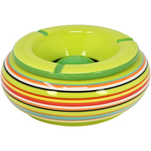com-four® 3X Windaschenbecher aus Dolomit Keramik in blau, grün, orange mit jeweils bunten Streifen [Farbauswahl variiert] (01 Stück - Ø 19.5cm)