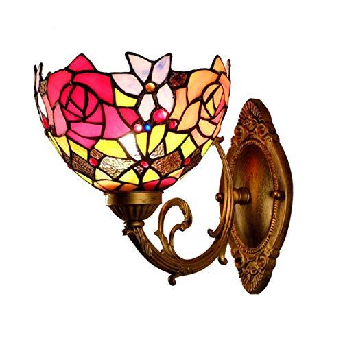 Lámpara de pared estilo Tiffany con diseño de rosas, estilo vintage, 1 luz para cocina, comedor, sala de estar
