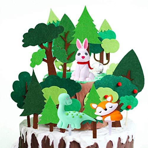 SNOWZAN 19 Stück Torten Deko Tier Cake Topper Geburtstag Tortendeko Tortendeko Geburtstag Cake Topper 1. Geburtstag Kuchendeko Geburtstag Cake Toppers Zoo Kuchendekoration Wald Dschungel-Themed Tier