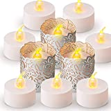 Papier Teelichthalter,24 Pack Silber Flammenlose LED Teelicht Votivkerzen Papier Wrapper Kerzenhalter mit Laser Cut Herz Motiv für Dekoration