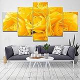 QWERGLL 5 Panel Gelbe Rose Blumen 5 Stück Hd Tapeten Kunst