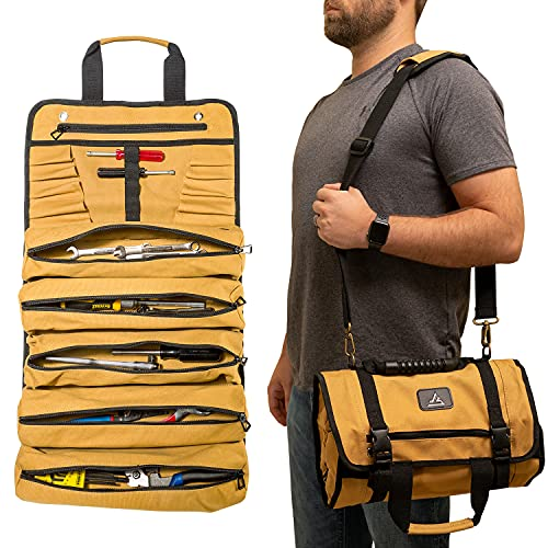 Terrev Tool Roll Up Bag - 18oz Heavy Duty Canvas - 17 Pockets Large, Rolling Tote Organizer for Truck
