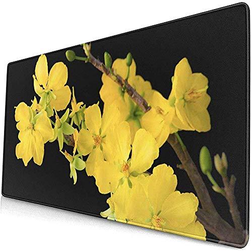 Gaming Extended Mouse Pads Blüte Blühende Aprikosenzweig Zarte gelbe Blumen Schwarz Vietnamesisch 30X80 cm
