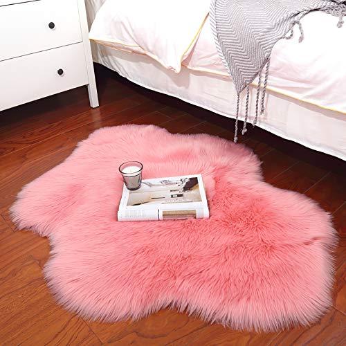 Alfombra de Lana Artificial QUANHAO Alfombra de Piel de Oveja de Lana Artificial Alfombra para niños Sala de Estar Dormitorio baño sofá cojín (Rosa, 70x90cm)