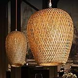 GUANSHAN Lámpara de techo de bambú tejida a mano Alambre de bambú natural Estilo pastoral...