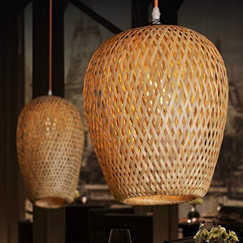GUANSHAN Lámpara de techo de bambú tejida a mano Alambre de bambú natural Estilo pastoral Lámpara colgante Lámpara de techo para bar, café, loft, restaurante, sala de estar