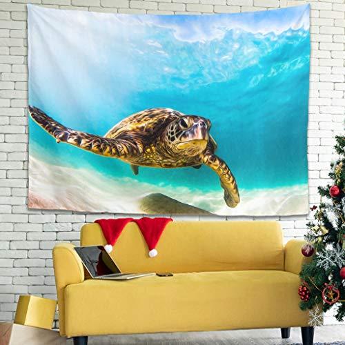 Zhenxinganghu Tapiz decorativo con diseño de tortuga, para salón, dormitorio, dormitorio, 200 x 150 cm, color blanco