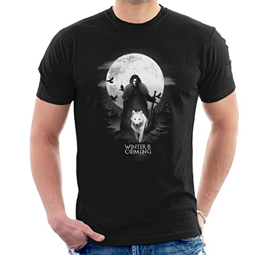 Game of Thrones Moonlight John Snow and Ghost Men's T-Shirt
