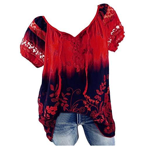 iHENGH Damen Kurzarm V-Ausschnitt Spitze Bedruckte Spitze Tops Loose T-Shirt Bluse Tops(Rot, XL)