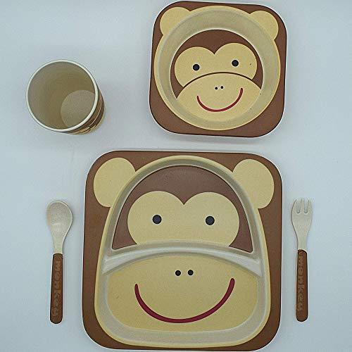 SPOCLIN Set vajilla Infantil de bambú sin bpa 5 Piezas I Motivo Mono I Servicio de Mesa cubertería para niños Tazón Vaso de Beber Plato para niños I Reciclaje de Material Natural