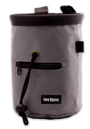 two Ogres Essential-Z Chalk Bag with Belt and Zippered Pocket (Grey) for Climbing, Gymnastics & Weight Lifting