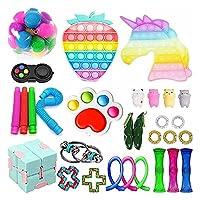 感覚家のおもちゃの玩具、ストレスの緩和のフィジットのおもちゃ、プッシュバブルポップフィジットパック、自閉症特別な必要性Fidget Toysセット、ストレスリリーバースクイーズおもちゃのおもちゃのおもちゃの玩具セット (Color : 8-fidget Toy)